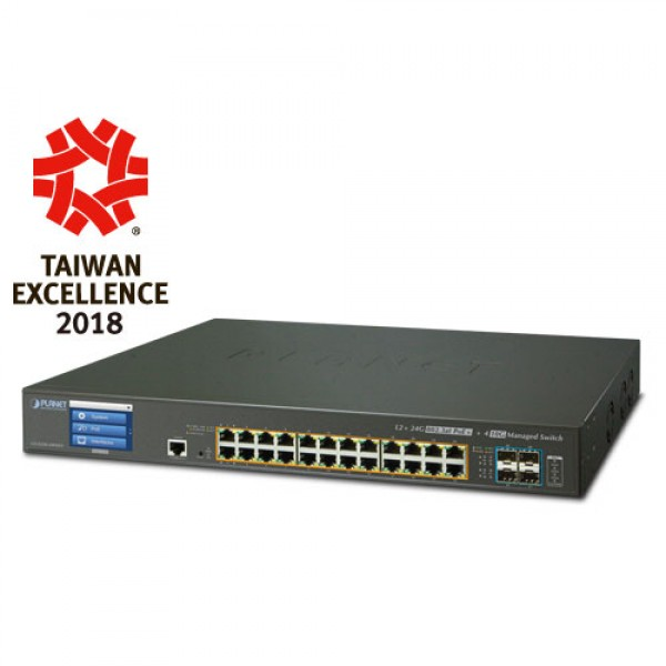 PLANET GS-5220-24P4XVR L2+ 24-Port 10/100/1000T 802.3at PoE + 4-Port 10G SFP+ Managed Switch with LCD touch screen