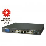 PLANET GS-5220-24PL4XVR L2+ 24-Port 10/100/1000T 802.3at PoE + 4-Port 10G SFP+ Managed Switch with LCD touch screen