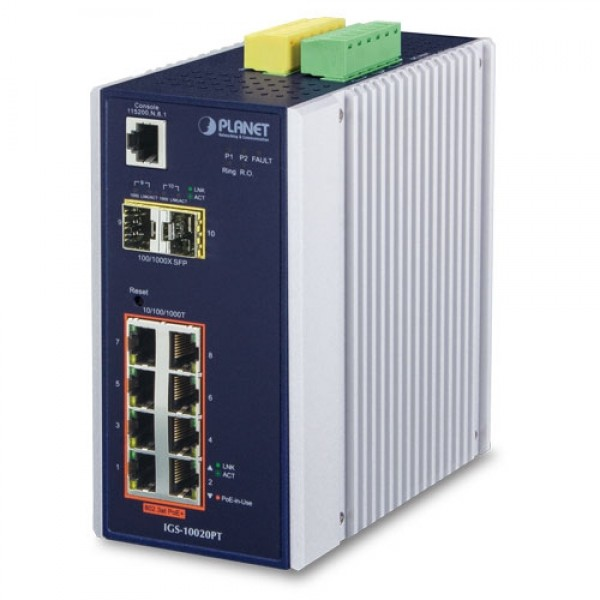Planet IGS-10020PT Industrial 8-Port 10/100/1000T 802.3af PoE + 2 100/1000X SFP Managed Switch (-40~75 Degrees C)