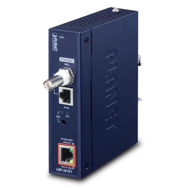 PLANET LRP-201ET Industrial 1-Port 10/100/1000T Ultra PoE + 1-Port Coax/UTP Long Reach PoE Extender (-20~70 degrees C)