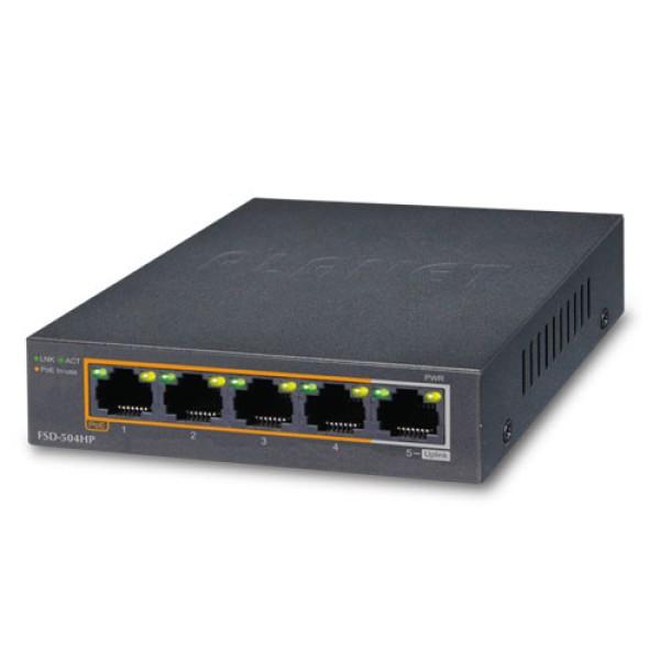 Planet FSD-504HP 4-Port 10/100Mbps 802.3at/af PoE + 1-Port 10/100Mbps Desktop Switch