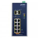 PLANET IGS-1020PTF-12V Industrial 8-Port 10/100/1000T 802.3at PoE + 2-Port 100/1000X SFP Ethernet Switch w/ 12V Booster (-40~75 degrees C)