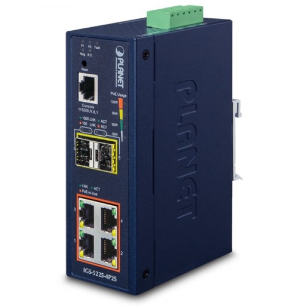 PLANET IGS-5225-4P2S  L2+ Industrial 4-Port 10/100/1000T 802.3at PoE + 2-Port 100/1000X SFP Managed Ethernet Switch