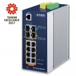 Planet IGS-5225-8P2S2X Industrial L2+ 8-Port 10/100/1000T 802.3at PoE + 2-Port 100/1000X SFP + 2-Port 10G SFP+ Managed Ethernet Switch (-40~75 degrees C)
