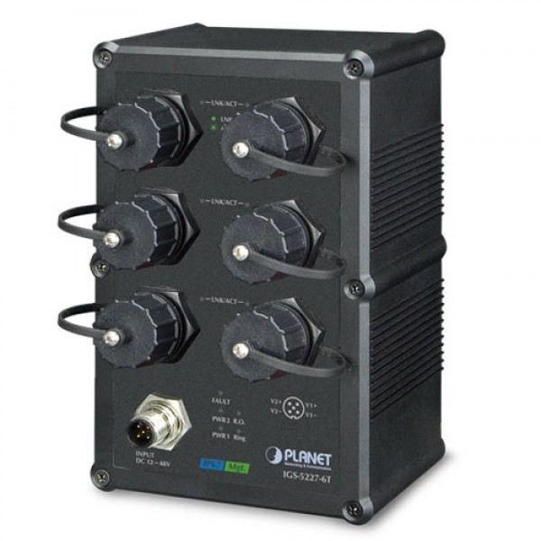 Planet IGS-5227-6T Industrial IP67-rated 6-Port 10/100/1000T Managed Ethernet Switch (-40~75 degrees C)