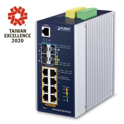 PLANET IGS-6325-8UP2S2X  Industrial L3 8-Port 10/100/1000T 802.3bt PoE + 2-Port 100/1000X SFP + 2-Port 10G SFP+ Managed Ethernet Switch