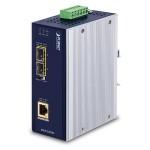 PLANET IGUP-1205AT Industrial 2-Port 100/1000X SFP to 1-Port 10/100/1000T 802.3bt PoE++ Media Converter