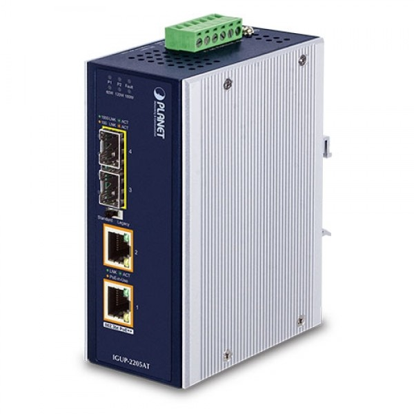 PLANET IGUP-2205AT Industrial 2-Port 100/1000X SFP to 2-Port 10/100/1000T 802.3bt PoE++ Media Converter