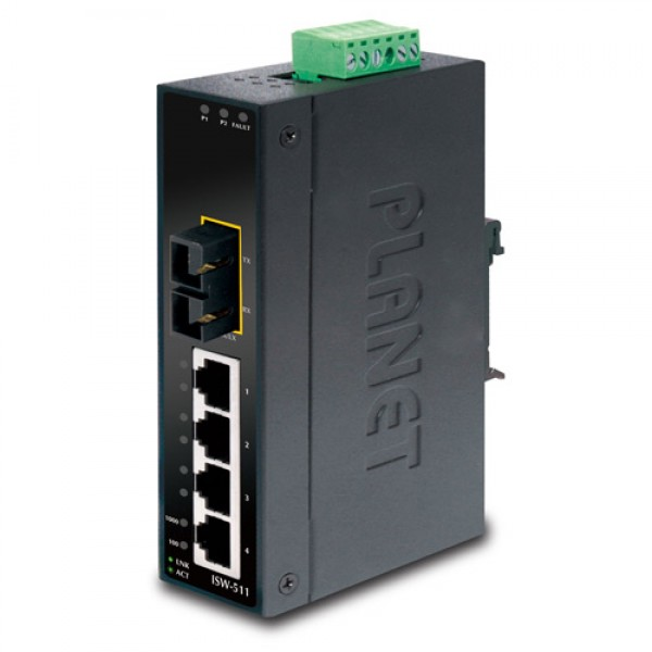 PLANET ISW-511 4-Port 10/100Base-TX + 1-Port 100Base-FX Industrial Fast Ethernet Switch (-10~60 Degree C operate temperature)