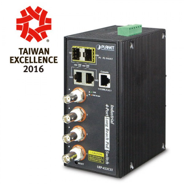 Planet LRP-422CST Industrial 4-port Coax + 2-port 10/100/1000T + 2-port 100/1000X SFP Long Reach PoE over Coaxial Managed Switch