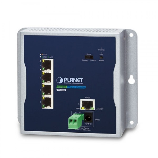 PLANET WGR-500 Industrial 5-Port 10/100/1000T Wall-mount Gigabit Router