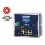 Planet WGS-5225-8P2SV Industrial L2+ 8-Port 10/100/1000T 802.3at PoE + 2-Port 100/1000X SFP Wall-mount Managed Switch with LCD touch screen
