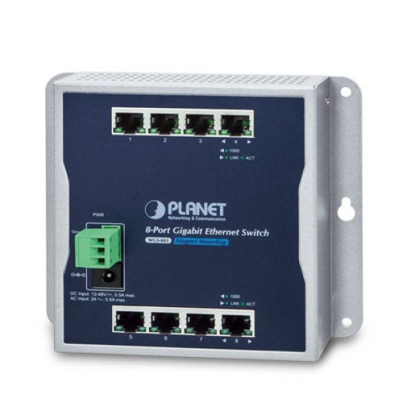 Planet WGS-803 Industrial 8-Port 10/100/1000T Wall-mount Switch (-10~60 degrees C)