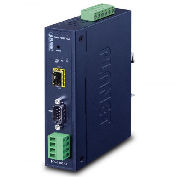 PLANET ICS-2102TS IP30 Industrial 1-Port RS232/RS422/RS485 Serial Device Server (1 x 100FX SC, SM/30km, -40~75 degrees C)