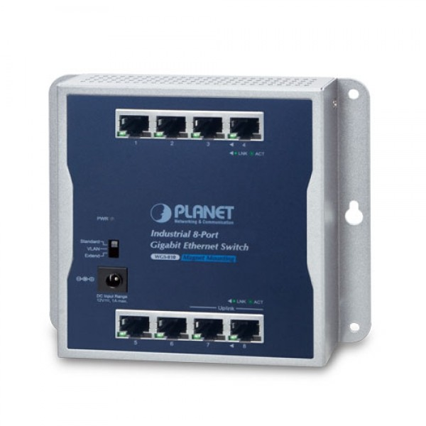 PLANET WGS-810 Industrial 8-Port 10/100/1000T Wall-mounted Gigabit Ethernet Switch
