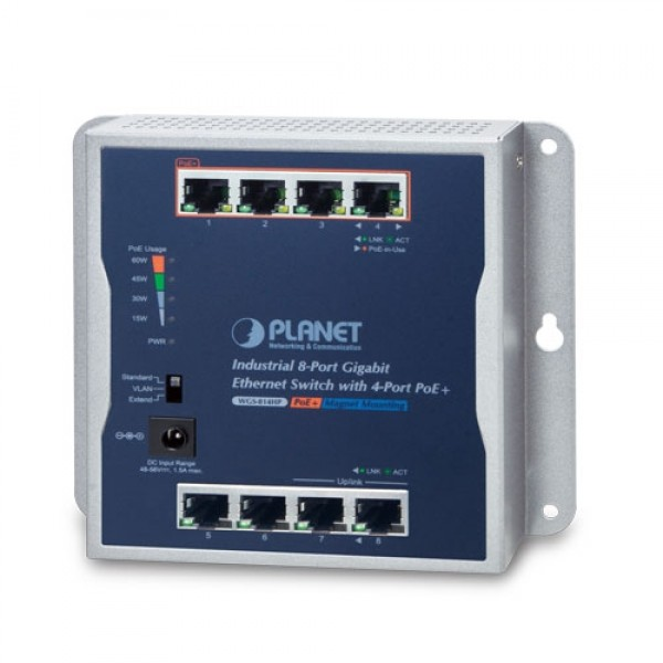 PLANET WGS-814HP Industrial 8-Port 10/100/1000T Wall-mounted Gigabit Switch with 4-port PoE+