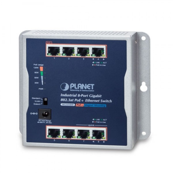PLANET WGS-818HP Industrial 8-Port 10/100/1000T Wall-mounted Gigabit PoE+ Switch