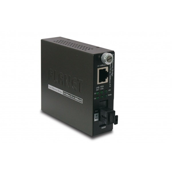 PLANET FST-806A20 10/100Base-TX to 100Base-FX (SC WDM, SM) Smart Media Converter- TX: 1310nm-20km