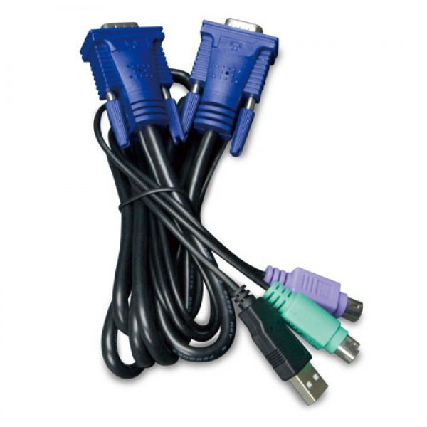 PLANET KVM-KC1-3 3M USB KVM Cable with built-in PS2 to USB Converter